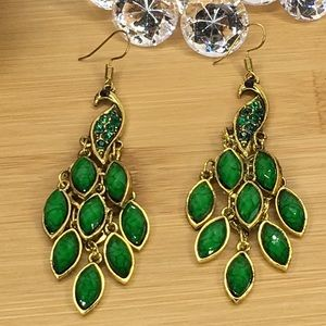 Jewelry - Green Peacock Earrings